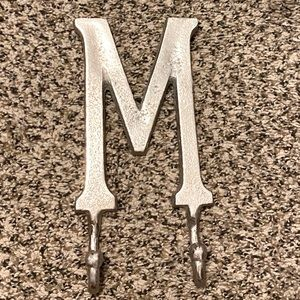 Letter M wall decor with 2 hooks. 10 inch(height)